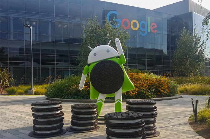 Google android dummy with oreo biscuits outside its office I iTMunch