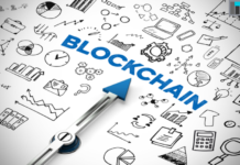 """A pointer pointing towards the word """"Blockchain"""" I iTMunch"""