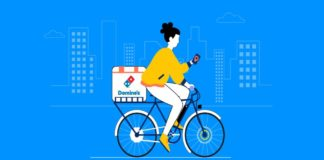 e-bike delivery by Dominos