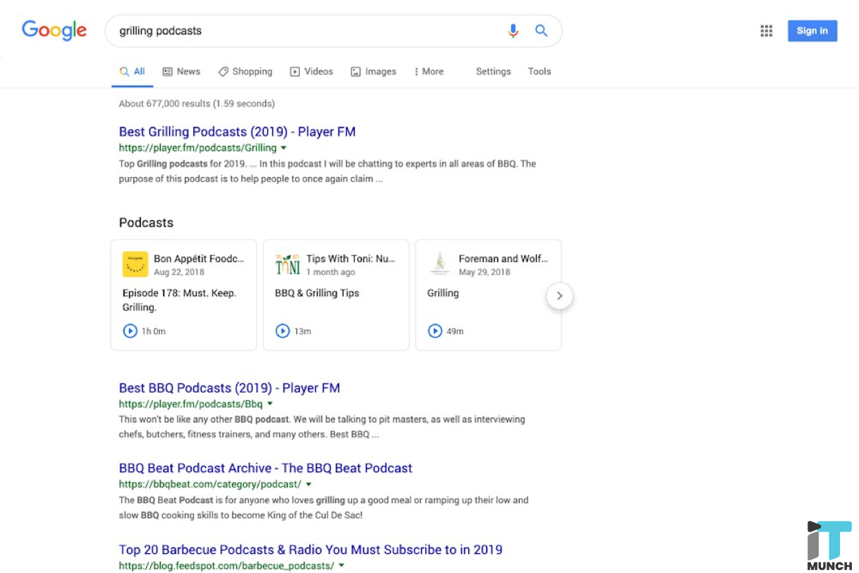 Podcasts on google results | iTMunch