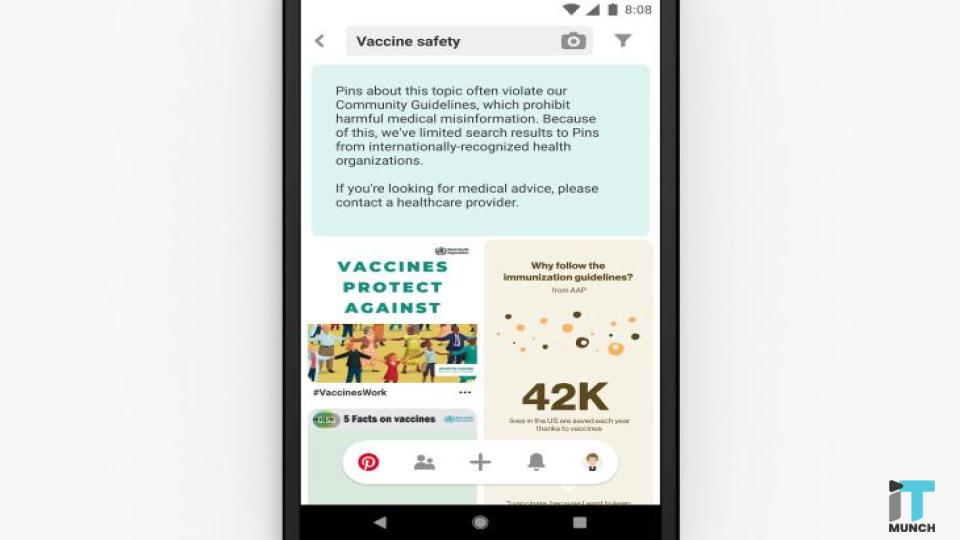 Pinterest shows information from public health organizations | iTMunch