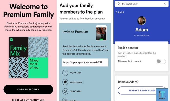 Spotify family plan subscription | iTMunch