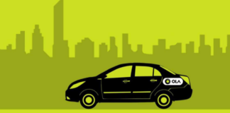 Visual representation of Car with Ola logo I iTMunch