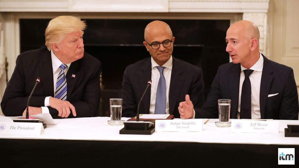 Donald Trump & Jeff Bezos discuss as Satya Nadela looks on | iTMunch