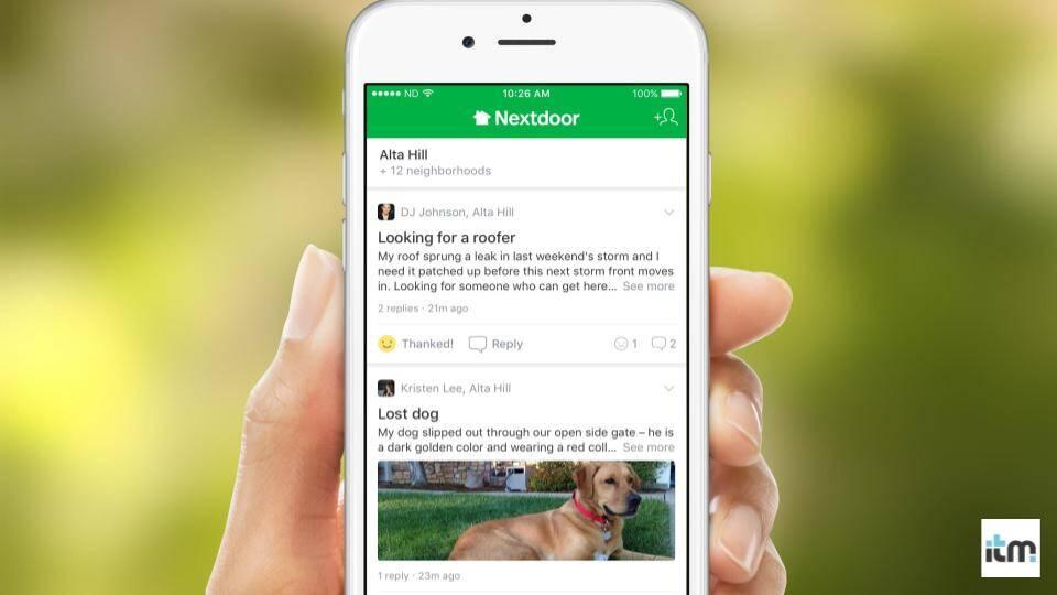 Nextdoor App being used on the phone | iTMunch