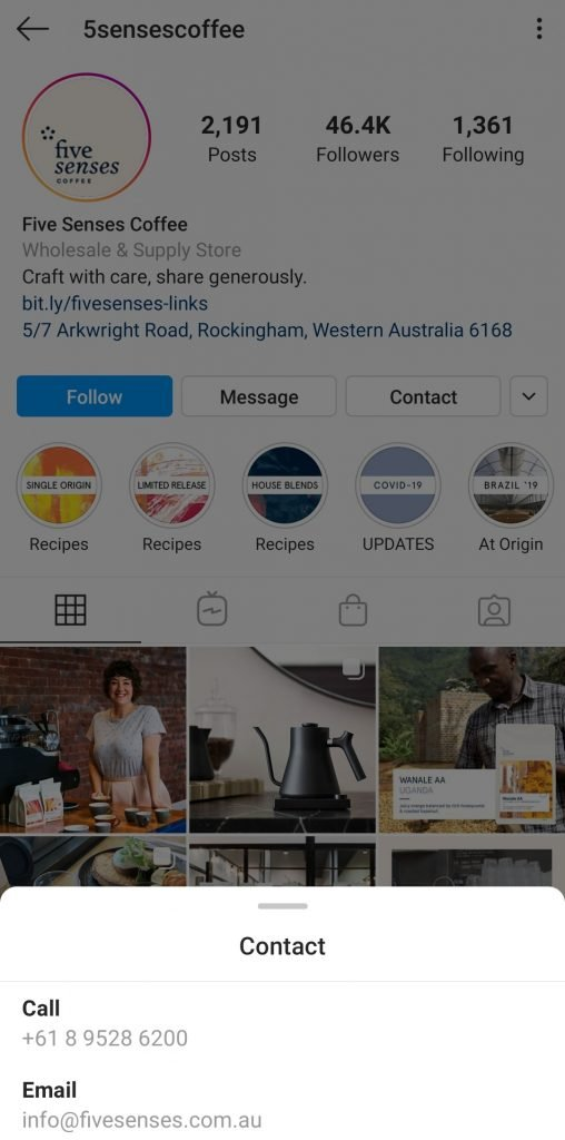 5 Senses Coffee Instagram for business | iTMunch