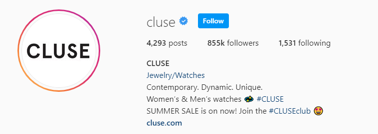 Cluse IG Account | iTMunch