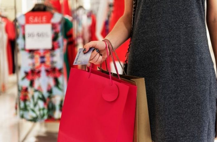 Customer with shopping bags